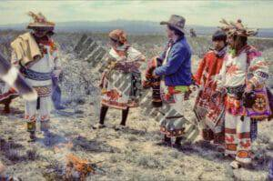 Huichol people standing in the high desert