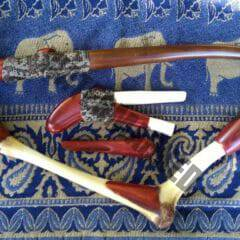 set of kuripe tepi (blowpipe) and cachimbo (tobacco pipe)