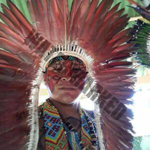 Kaxinawa Indian Mankou in a close up wairing his tribal feathers